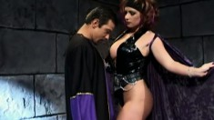 Evil lady with big tits fingers her twat while a big rod bangs her ass