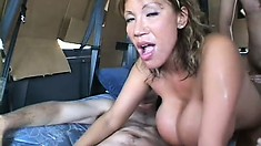 Ava Devine gets in a van and endures some savage double dicking