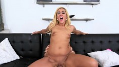 Sexy slim Latina with a fabulous booty passionately fucks a big stick