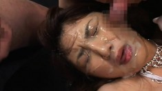 Naughty Asian babes with great oral skills get hot jizz on their faces
