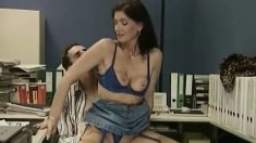 Tanja K gives her student an office fuck and gets it up the ass