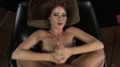 Beautiful Nikki Coxxx exposes her saggy boobs and strokes a big shaft