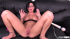 Stacked brunette girl with a hot ass Eva Angelina shows off her passion for sex toys