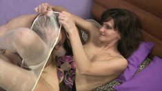 Exciting babe in white pantyhose Hermione has Sergey banging her peach