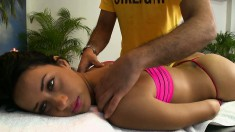 Striking Brunette Angie Enjoys A Relaxing Massage And A Hard Fucking