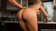 Buxom blonde Brandi Love rides, sucks, and gets fucked from behind