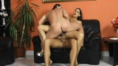 Stacked beauty with sexy long legs fucks two throbbing cocks at once