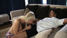 Tattooed blonde slut with perky tits feeds her desire for black meat