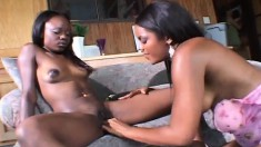 Brown Sugar and her sultry lesbian lover please each other's pussies