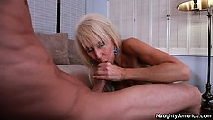 Slutty mature blonde Erica Lauren gets naked and blows his boner