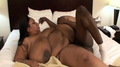 Huge tit, huge black woman eats meat and gets banged from behind