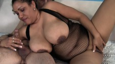 Mature plumper gets pumped in different positions and titty fucks him