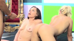 Tiffany Star shares a throbbing black dick with Marsha May on the bed