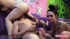 Buxom sluts Angelina Valentine and Sarah Vandella enjoy a long stick
