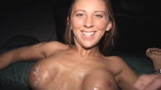Big breasted blonde with great oral talents gets covered in hot semen