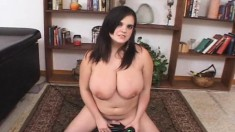 Big breasted brunette hottie rides the sybian and moans with delight
