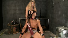 Blindfolded and gagged, this boy toy is ready to give his huge boner away to his domme
