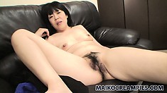 Slutty Oriental wife spreads her legs for hubby then eats his meat