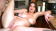 MILF Sarah Stone riding cock with her sweet wet trimmed pussy
