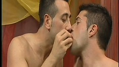 This gay threeway gets very hot and steamy in the massage parlor