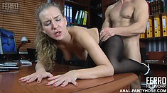 Barbara lets her nylon-loving boss probe her mouthwatering wet snatch