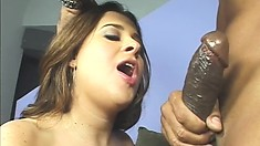 The busty babe gets down on her knees and sticks a big black cock in her mouth