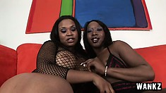 Two chocolate lezzies stroking each other's marvelous bodies on the couch
