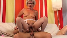 Her ancient cunt gets moist once more on a younger man's cock