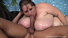 Extremely fat lady Sapphire gets her pussy fucked hard and her face covered with cum