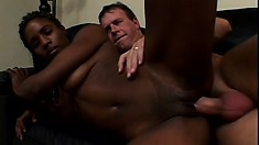 Sweet black girl with sexy long legs and a spicy ass feeds her desire for white cock