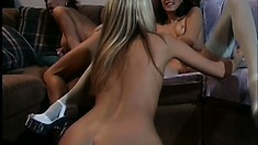 Eager to explore their lesbian desires, three stunning babes get together on the couch