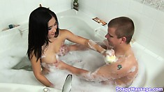 Asian cleaning in the shower and the tub and he licks her cunt