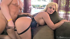 Busty blonde babe ass bangs her lover, jerks and blows before he fucks her
