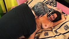 Busty bitch with a hairy twat gets it licked and goes for his cock