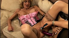 Lusty Milf big tit babes in lingerie toy, lick and masturbate together