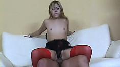 Petite Asian babe in lingerie Kat has two hard dicks banging her holes