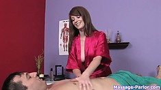 Sweet young masseuse massaging a lucky guy and getting undressed
