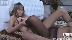 Ravishing lesbian beauties make each other moan in sweet pleasure