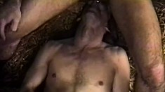 Two lustful gay cowboys blow each other's long cocks in the barn