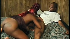 Black hood rat Mo Wett gets a bitch in a hotel room to work on his prick