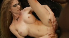 Sexy secretary has a hankering for some throbbing dark meat inside her