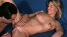 A stunning lusty blonde loves to be on top of this hard cock