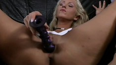 Sublime blonde with awesome tits makes herself cum with a ribbed dildo