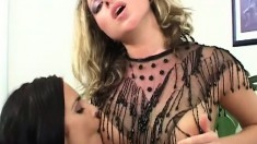 Gorgeous lesbian babes have some special toys to drill their cunts