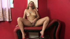 Blonde shemale Alexia goes solo and plays with her lady meat