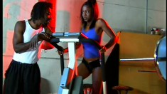 Byron Long gets himself a tight young black babe and fucks her in gym