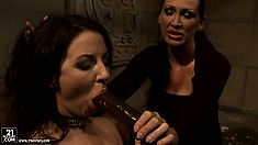 Bound brunette in full/body mesh gets tortured by a harsh mistress