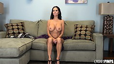 Busty brunette MILF Ava Addams reveals her huge hooters and plays with them