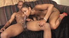 Nubian beauty gets her big butt groped while she takes a dicking