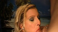 Big Breasted Blonde Has A River Of Hot Piss Streaming Down Her Throat